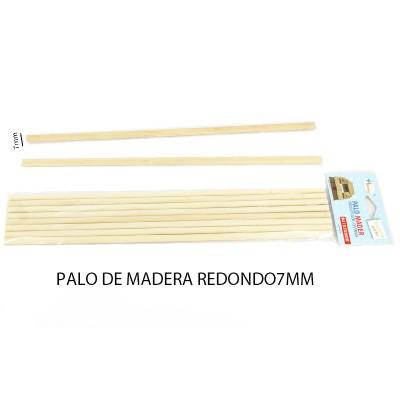 PALO DE MADERA 7MM 6UNIDADES