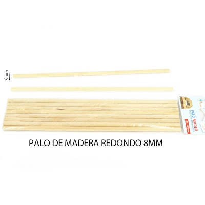 PALO DE MADERA REDONDO 8MM